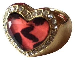 Betsey Johnson Betsey Johnson Pink Leopard Lucite Heart Swarovski Crystal Pave Frame Gold Ring