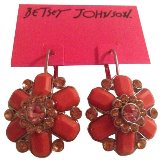 Betsey Johnson Rare Betsey Johnson Earrings, Rhodium-Plated Flower Drop Earrings (new w/ tag)