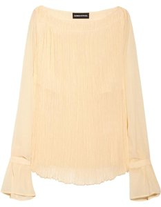 Sonia Rykiel Pleated Long-sleeve Top Peachy Blush