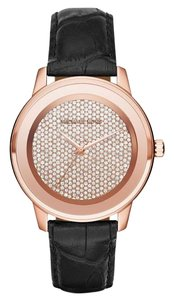 Michael Kors Michael Kors Mk2456 Kinley Black Leather Glitz Rose Gold Tone Watch