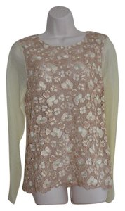 Antonio Berardi 100% Silk Embroidered Floral Top Peachy Blush