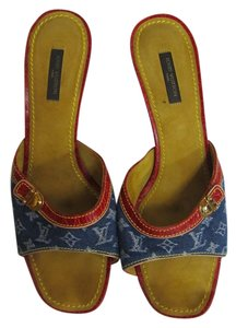 Louis Vuitton Denim Monogram Red Multi-Color Mules