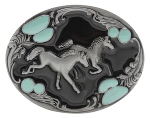 Other Men Women Silver Blue Beads Western Cowboys Rodeo Horses Belt Buckle Metal Oval