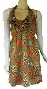 Judith March short dress Multi-color Colorful Halter Satin Pull-on Geometric on Tradesy