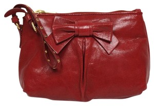 Miu Miu Prada Vitello Clutch Wristlet in Red