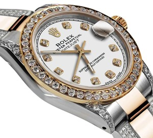 Rolex Women's 31mm Oyster Perpetual Datejust Custom Diamonds White ColorDial