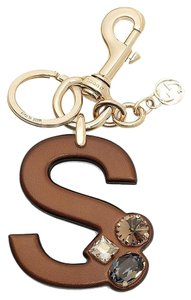 Gucci Gucci 'S' Brown Leather Key Ring Charm with Swarovski Crystals 369494
