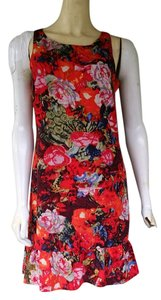MM Couture short dress Multi-color Exposed Zipper Floral Red Ruffle Hem on Tradesy