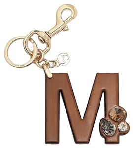 Gucci Gucci 'M' Brown Leather Key Ring Charm with Swarovski Crystals 369488