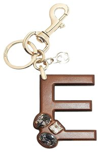 Gucci Gucci 'E' Brown Leather Key Ring Charm with Swarovski Crystals 369479