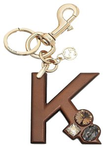 Gucci Gucci 'K' Brown Leather Key Ring Charm with Swarovski Crystals 369487