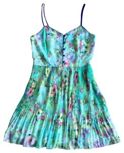 LC Lauren Conrad short dress Green Blue Pink Pleated Buttons Strappy Sweetheart Wedding on Tradesy