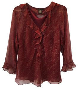 ECI New York Top Dark Red (Maroon) with Gold Pattern