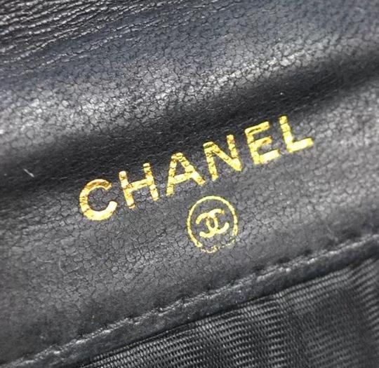 Chanel Authentic CHANEL CC Logos Bifold Wallet Purse Black Caviar Skin Leather France Vintage