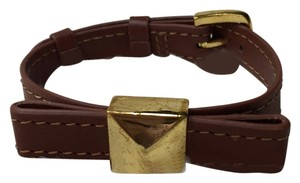 Kate Spade Kate Spade Brown Strap Gold Pyramid Stud Bow Bracelet