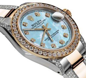 Rolex Women's 31mm Oyster Perpetual Datejust Custom Diamonds Tone Baby Blue