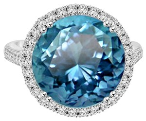 Avi and Co 8.01 cttw Light Blue Aquamarine & Round Diamond Halo Fashion Ring 18K White Gold