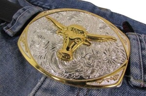 Other New Men Women Fashion Silver and Gold Metal Cowboy Western Buckle Bull Head Floral Detail