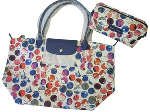 Longchamp Shoulder Large Flap Tote in blue white multi