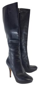 Via Spiga Black Leather Heel Boots