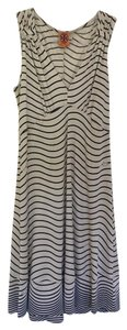 Tory Burch short dress Beige with blue waves Stretch Sleeveless on Tradesy
