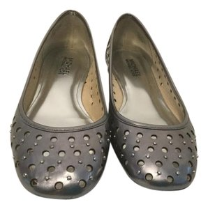 MICHAEL Michael Kors Lining Padded Insoles Silver Grommets Air Holes Gunmetal metallic leather Flats