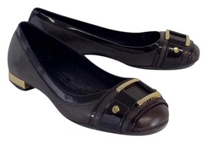 Tory Burch Brown Leather Gold Buckle Flats