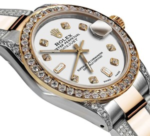 Rolex Women's 31m Oyster Perpetual Datejust Custom Diamonds White Color Dial