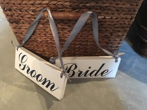 PRIVATE PARTY White with Navy Writing Bride and Groom Chair Signs Reception Decoration