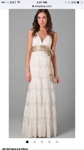 Bcbgmaxazria wedding dresses up to 90 off at tradesy bcbgmaxazria whiteoff white with taupechampaign satin sash silk chiffon carly layered lace junglespirit Images