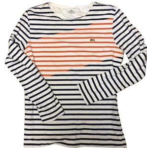 Lacoste T Shirt Navy blue orange white