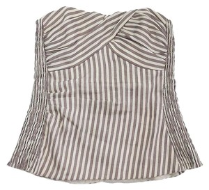 Nanette Lepore Taupe Cream Striped Tube Top