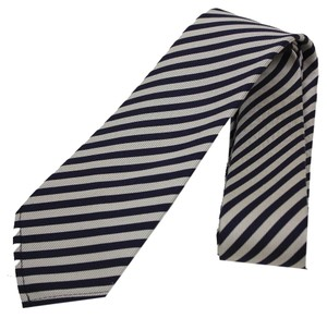 Gucci Gucci Navy Blue and White Stripped Men's Silk Tie 375990