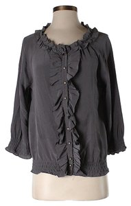 Joie Silk Ruffle Top Grey