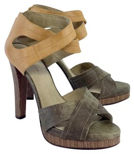 Elizabeth and James Green Tan Heels Sandals