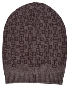 Gucci New Gucci Men's 369627 Brown Wool Horsebit Logo Slouchy Ski Hat Beanie