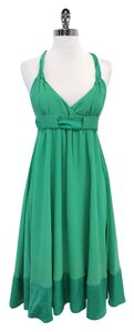 French Connection Green Silk Sleeveless Dress