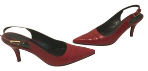 Stuart Weitzman Front Ridges Red all leather slingback Pumps