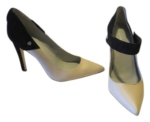 Calvin Klein Suede Stilettos Leather Cream & Black Pumps