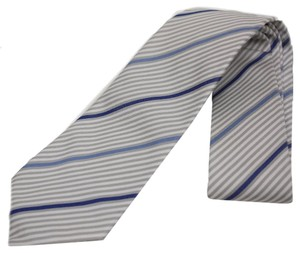 Gucci Gucci Stripped Navy Blue and Ivory White Silk Tie 376506