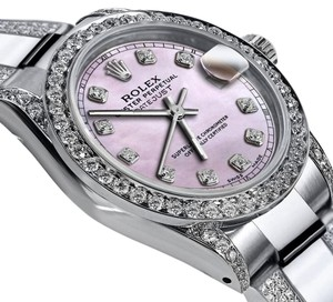 Rolex Women's 31mm s/s Oyster Perpetual Datejust Pink Diamonds Dial Accent