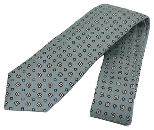 Gucci Gucci Patterned Sea Foam Green Woven Silk Tie 368200