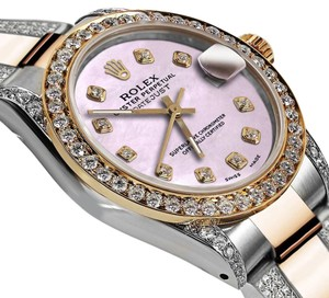 Rolex Women's 31mm Oyster Perpetual Datejust Tone Pink Diamonds Dial