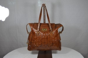 Leather Lined Alligator Tote in Brown