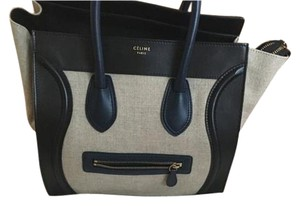 Céline Celine Tricolor Luggage Tote in Navy with light khaki