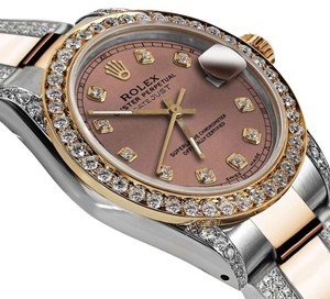 Rolex Women's 31mm Oyster Perpetual Datejust Diamonds Salmon Color Dial