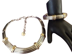 Other Big Silver Tone Choker And Bracelet Set