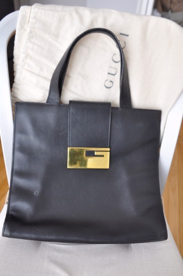Gucci Vintage Leather Tote in Black
