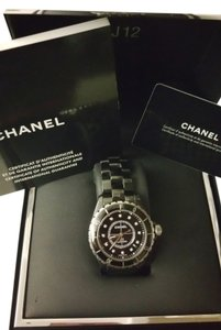 chanel Authentic Chanel Black Ceramic J12 diamond watch