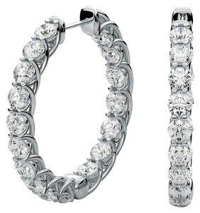 Avi and Co 3.40 cttw Round Brilliant Diamond Inside-Outside Hoop Earrings 14K White Gold